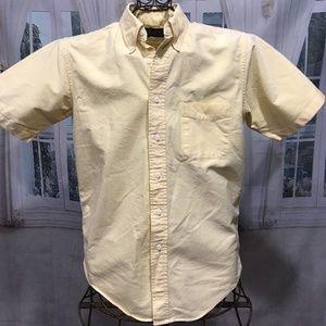 LANDS' END Yellow Short Sleeve Button Front Shirt